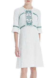 Sophie Max Elbow Sleeve Embroidered Dress