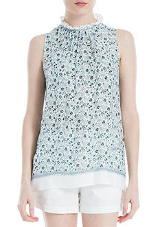 Sophie Max Printed Sleeveless Mock Neck Top