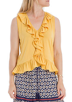Sophie Max Sleeveless V-Neck Ruffle Top