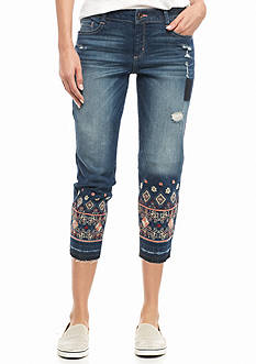 Red Camel Embroidered Hem Blue Jeans