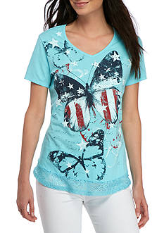 Kim Rogers Short Sleeve V-Neck Butterfly Tee