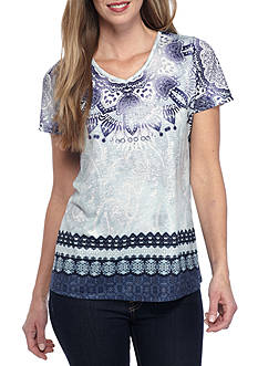 Kim Rogers Short Sleeve Scoop Neck Swing Paisley Top