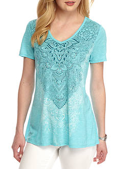 Kim Rogers Short Sleeve V-Neck Swing Medallion Top