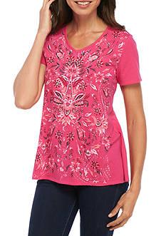 Kim Rogers Short Sleeve V-Neck Swing Floral Folk Top