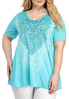 Kim Rogers Plus Size V Neck Space-Dye With Flower Print Shirt