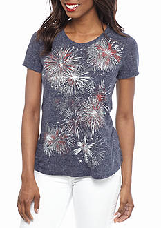 Kim Rogers Women's Petite Fireworks Swing Knit Top