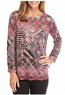 Kim Rogers® Three Quarter Ruched Sleeve Hacci