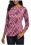Kim Rogers® Hacci Tee Round Hem with Side