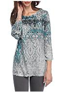 Kim Rogers® 3/4 Sleeve Printed Knit Top