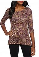 Kim Rogers® Embellished Paisley Top