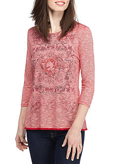 Kim Rogers Three Quarter Sleeve Pom Hem Knit Top