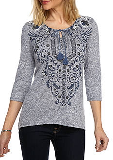 Kim Rogers Three Quarter Sleeve Sharkbite Hem Top