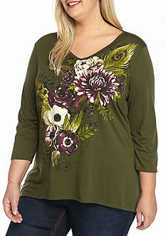 Kim Rogers Plus Size Floral Screen Tee