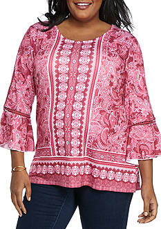 Kim Rogers Plus Size Crochet Trim 3/4 Sleeve Tunic