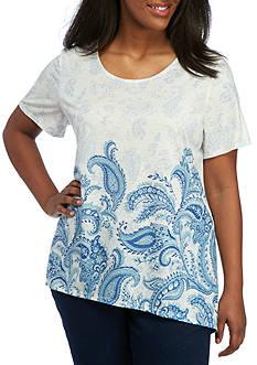 Kim Rogers Plus Size Border Print Sharkbite Knit Top
