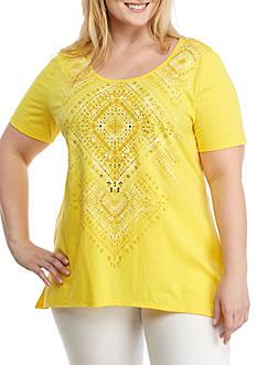 Kim Rogers Plus Size Gold Foil Sharkbite Top