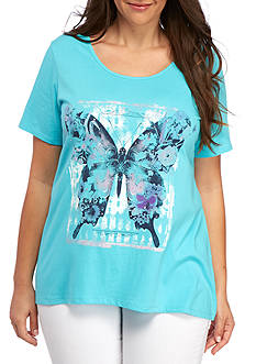 Kim Rogers Plus Size Short Sleeve Butterfly With Studs Top