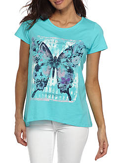 Kim Rogers Petite Short Sleeve Butterfly With Stud Tee Shirt