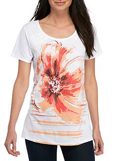 Kim Rogers Short Sleeve Floral Swing Tee