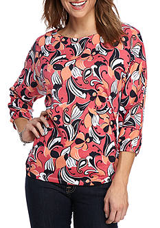 Kim Rogers Three Quarter Length Sleeve Dolman Flowing Floral Knit Top