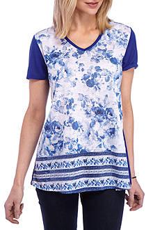 Kim Rogers Short Sleeve V-Neck Swing Floral Top