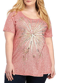 Kim Rogers Plus Size Short Sleeve Space-Dye Foil Fireworks Tee Shirt