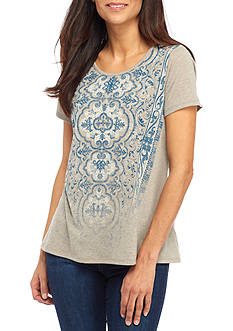 Kim Rogers Petite Short Sleeve Scoop Neck Tee