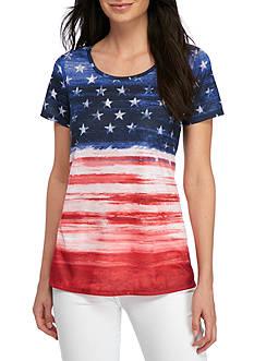 Kim Rogers Short Sleeve Americana Stripes Tee