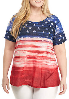 Kim Rogers Plus Size Short Sleeve Ombre Flag Top