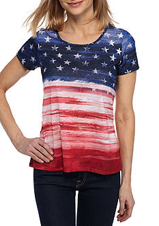 Kim Rogers Petite Size Short Sleeve Ombre Flag Top