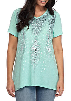 Kim Rogers Baby Bite Peacock Feather Graphic Tee