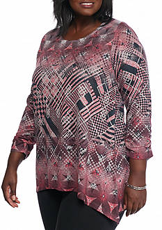 Kim Rogers® Plus Size Geo Print Sharkbite Top