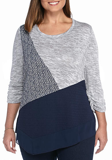 Kim Rogers® Plus Size 3/4 Sleeve Spliced Top