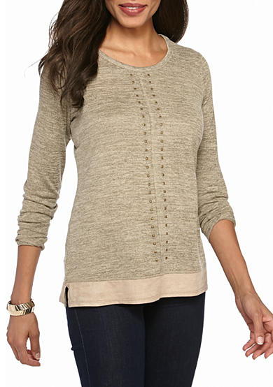 Kim Rogers® Long Sleeve With Grommets and Faux Suede Trim Knit Top