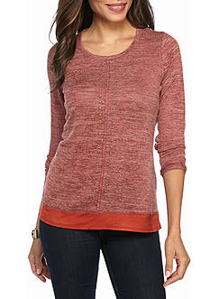 Kim Rogers Long Sleeve With Grommets and Faux Suede Trim Knit Top