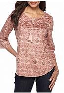 Kim Rogers® Faux Suede Peasant Top With Lace