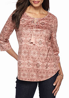 Kim Rogers Faux Suede Peasant Top With Lace Cuffs