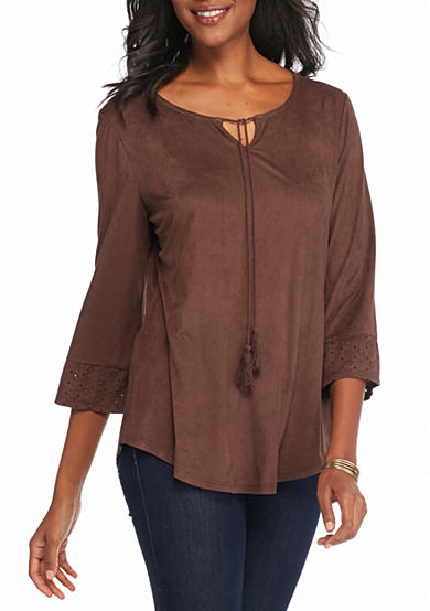 Kim Rogers® Peasant with Laser Cut Knit Top