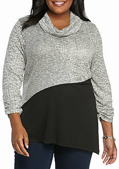 Kim Rogers Plus Size Textured Cowl Neck Tunic