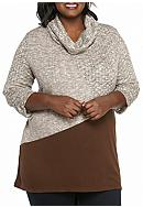 Kim Rogers® Plus Size Textured Cowl Neck Tunic