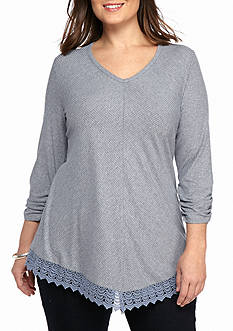 Kim Rogers® Plus Size 3/4 Sleeve Heath Rib Y Neck