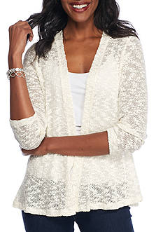 Kim Rogers Textured Cardigan With Lace