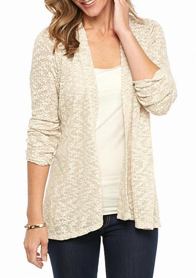 Kim Rogers® Textured Cardigan With Lace
