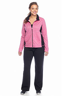 be inspired® Plus Size 2-Piece Heathered Workout Set