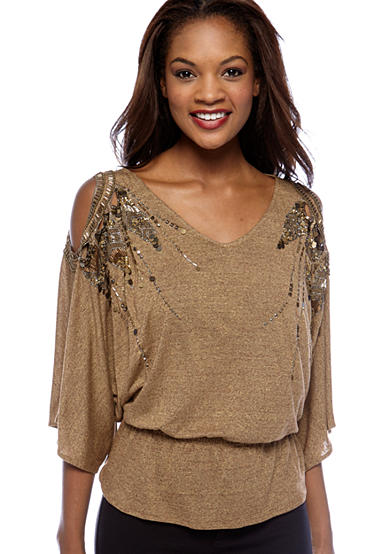 Miss Me Beaded Cold Shoulder Knit Top