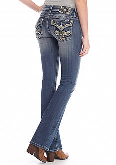 Miss Me Destructed Embellished Flap Pocket Bootcut Jeans