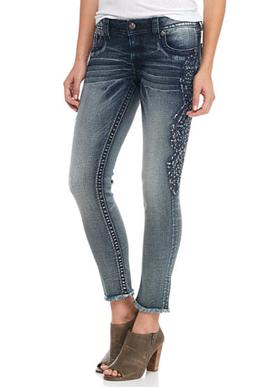 Miss Me Side Embroidered Ankle Skinny Jeans