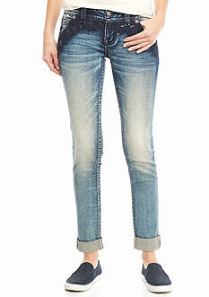 Miss Me Embroidered Slant Pocket Skinny Jeans