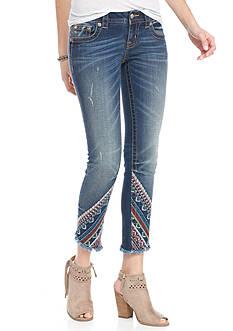 Miss Me Signature Ankle Skinny Embroidered Jeans
