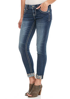 Miss Me Embroidered Stitch Ankle Skinny Jean